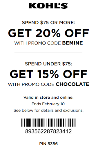 Kohl's coupon 20% off entire purchase