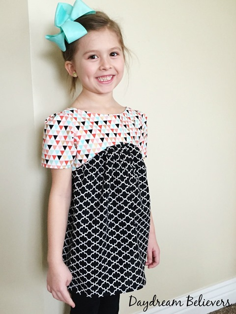 Modern Geometric black white coral mint gold top for girls by Daydream Believers Designs 2