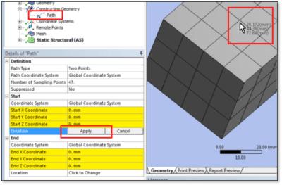 ANSYS Указание расположения точки как можно ближе к выбранному узлу