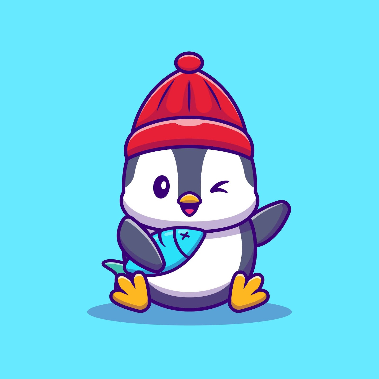 Cute Penguin With Fish Cartoon Vector Illustration Animal Wildlife Concept Isolated Vector Flat Cartoon Style Free Download Vector CDR, AI, EPS and PNG Formats