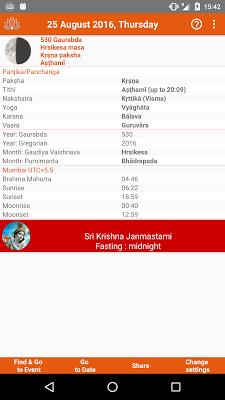 Vaishnava Calendar Panchang - screenshot