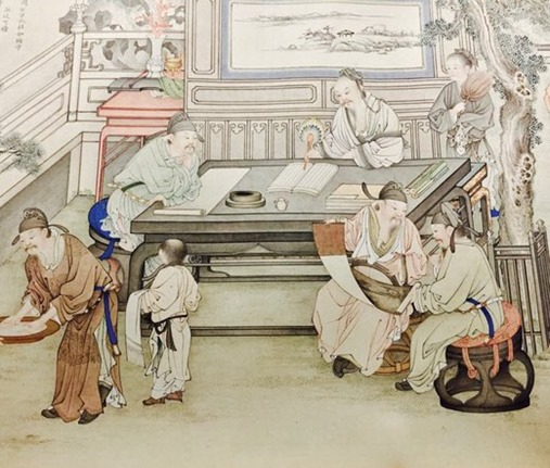 Detail from the Qing dynasty 'Gathering of Scholars'. museo taipei London Books Review