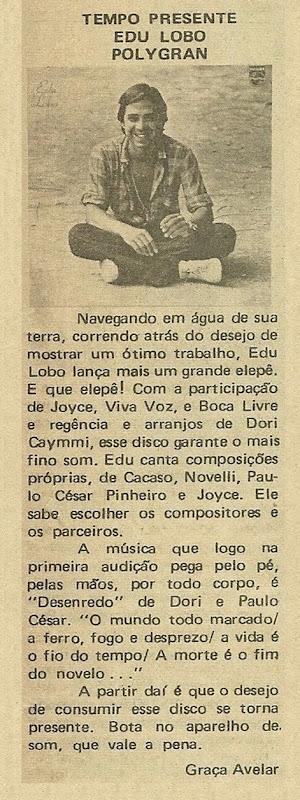 Edu Lobo - Tempo Presente - Graça Avelar - Música 1980-09