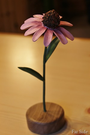 Purple coneflower carving painted