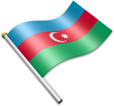 The Azerbaijani flag on a flagpole clipart image