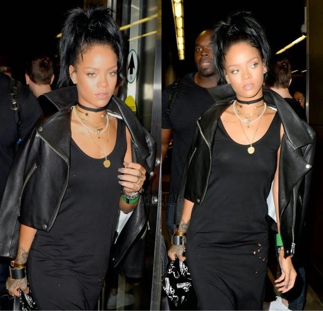 Rihanna in Acne, Saint Laurent, Maison Margiela