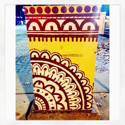 Yellow Utility Box Street Art in Jackson Square Area of Jamaica Plain