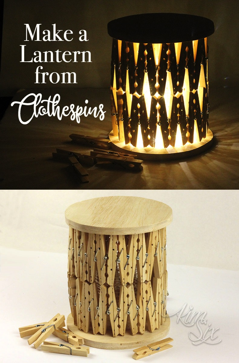 Make a lantern from clothespins