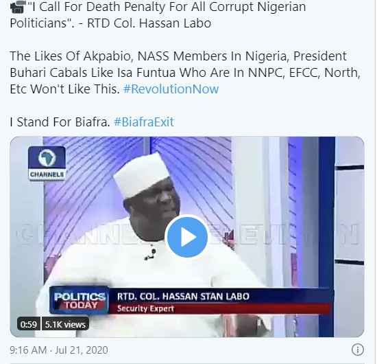 """""""All Corrupt Nigerian Politicians Should Face The Death Penalty"""" - RTD Col. Hassan Labo (Video)"""