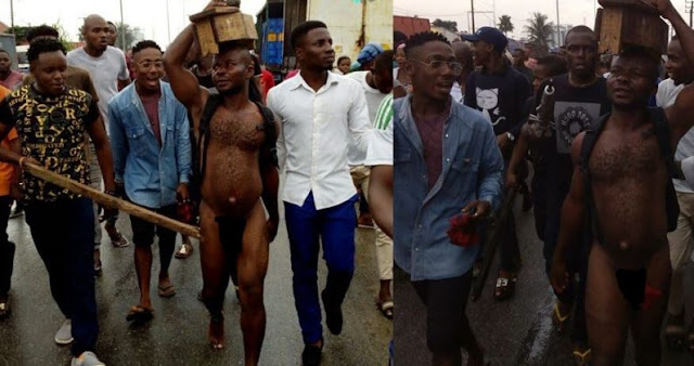 Man Paraded Nakked For Trying To Bury Charms In Ex-Girlfriend's House (Photos)