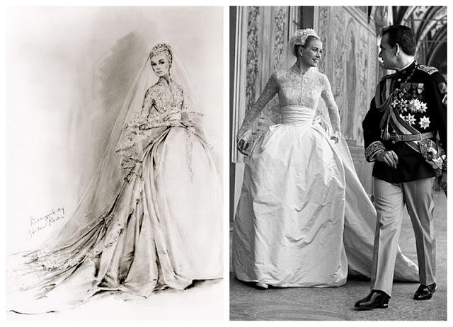 boceto del vestido de novia de Grace Kelly, de Helen Rose, y Grace el día de su boda con el príncipe Rainiero