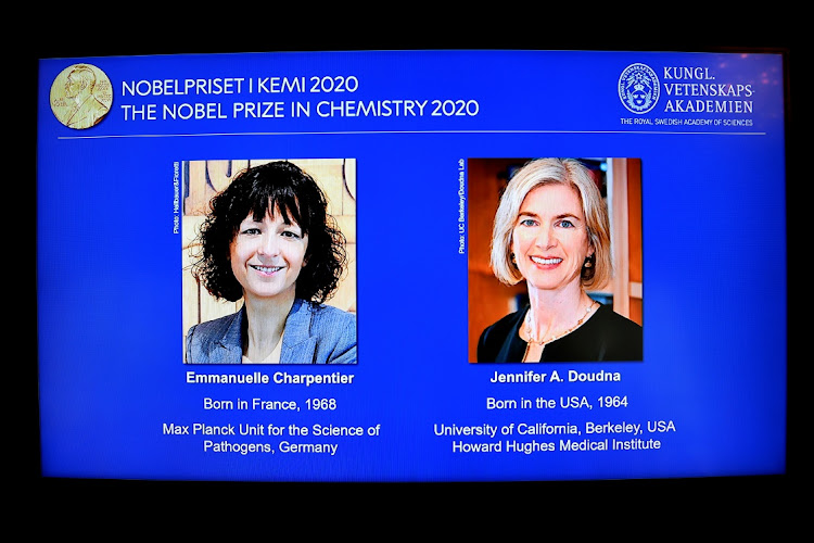 Pictures of Emmanuelle Charpentier and Jennifer A. Doudna, winners of the 2020 Nobel Prize in Chemistry, are displayed on a screen during the news conference announcing the laureates, at the Royal Swedish Academy of Sciences, in Stockholm, Sweden, on October 7, 2020. Picture: TT News Agency/Pool via REUTERS/Henrik Montgomery