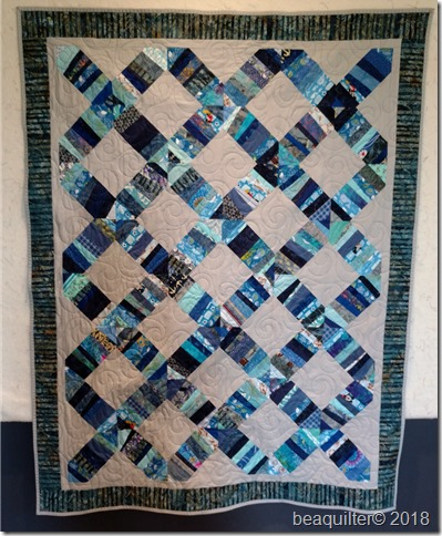 strip quilt blue grey