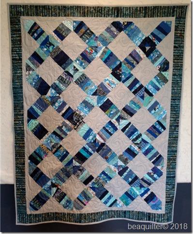 strip quilt blue grey