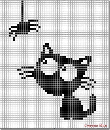 siluetas gatos punto de cruz monocromo  (28)