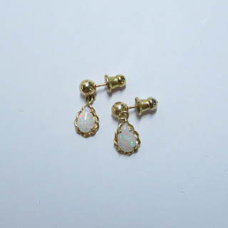 14K Gold and Opal Earrings