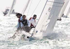 J70 sailing upwind- Tim Healy and Dave Reed
