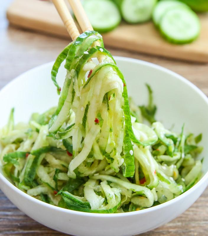 photo of chopsticks holding some Sesame Cucumber Noodle Salad