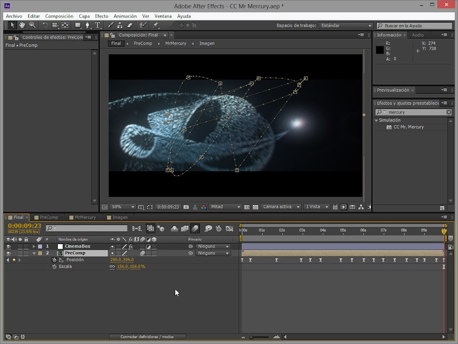 Otra captura de pantalla CC Mr. Mercury de After Effects