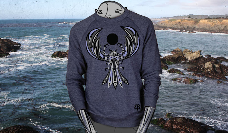 Scarabic Graphic Sweater: Ben's Doodle by the Ocean