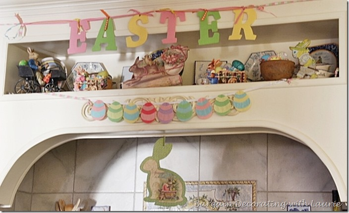 Easter decor in our kitchen-Bargain Decorating with Laurie