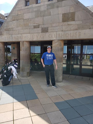 Lyndon Kappel wearing his Pearls for the Boys at St Andrews Links, Fife, Scotland