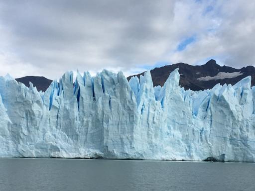 the face of Perito Moreno Glacier, in Los Glaciares National Park, Patagonia, Argentina