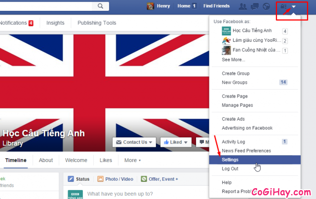 Vào phần Settings - cài đặt facebook