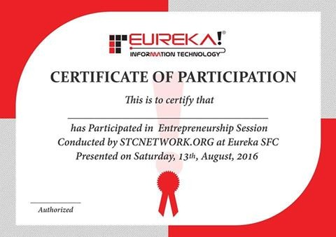 Eureka certificate of participation
