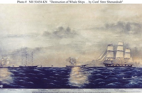 The Shenandoah attacking whaling vessels in the Arctic Ocean