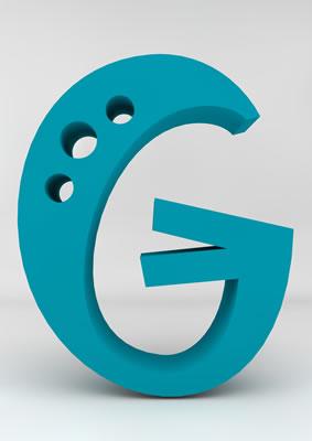 lettre 3D homme joker turquoise - G - images libres de droit