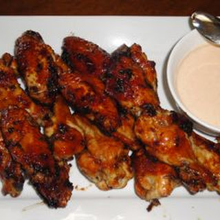 Asian Lacquered Wings with a Honey Sriracha Yogurt Dipping Sauce.
