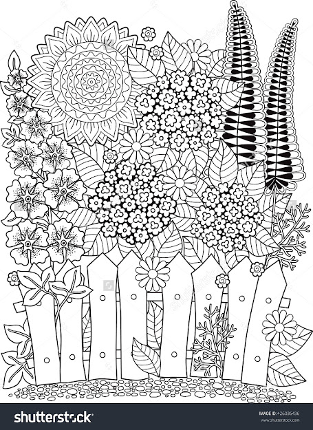 Vector Doodle Sunflowers Coloring Book For Adult Summer Flowers  Flowerbed
