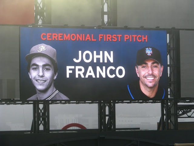 John Franco throws out the first ceremonial first pitch at Citi Field. -Ceetar