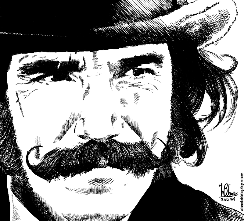 Ink drawing of Daniel Day-Lewis in Gangs of New York, using Krita 2.5.