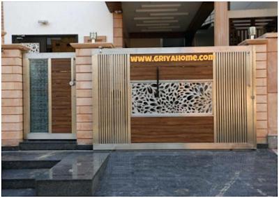 Pagar rumah minimalis Kombinasi Beton dan Kayu