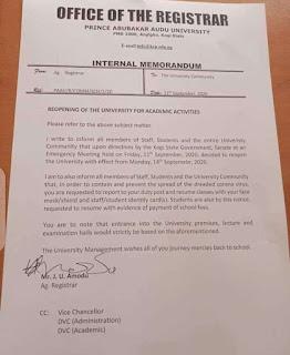 Kogi State University Resumption Date Announced