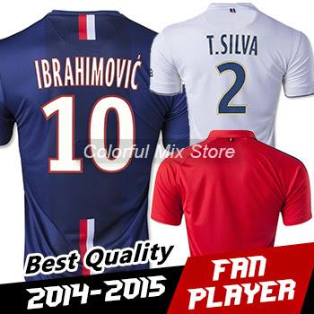 Free Shipping 2015 IBRAHIMOVIC Jersey T SILVA Best Thai