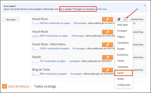 Blogger ganha novo gadget - postagem em destaque - Visual Dicas