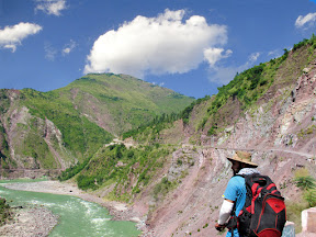Riding along side Neelum River.