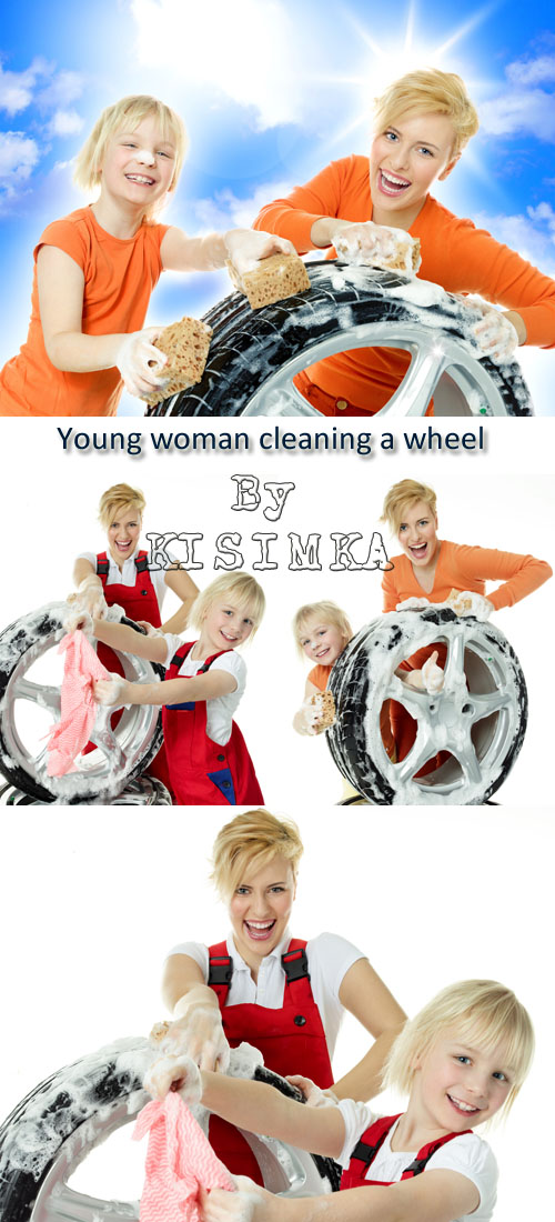 Stock Photo: Young woman and cute girl cleaning a wheel