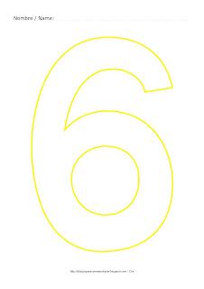 Lámina para colorear y pintar el número seis en color amarillo