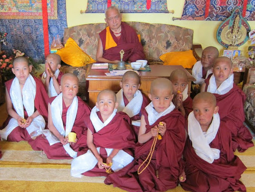 Lama Zopa Rinpoche ordained a group of new monks at Kopan Monastery, Nepal, March 2012.