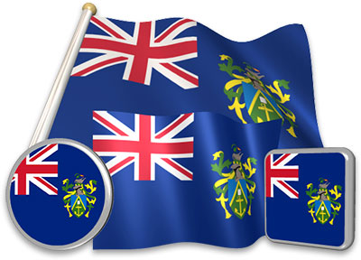 Pitcairn Island flag animated gif collection