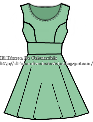 Boceto de vestido corte princesa con corte imperio sin mangas y falda medida campana