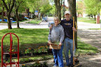 Pete and Joanie Fraver planting adopt-o-pots on Avery Mall, May 17 2014