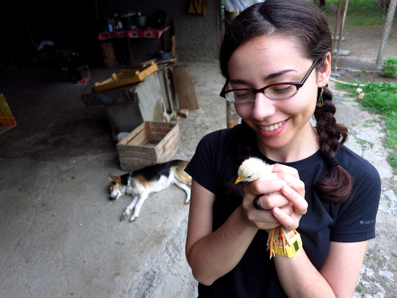 Alicia and a chick