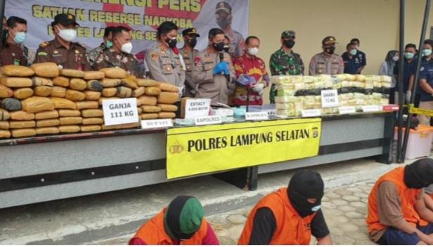 Kapolda Lampung Apresiasi Polres Lamsel yang Berhasil Amankan Narkoba Senilai Milyaran Rupiah
