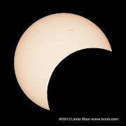Partial solar eclipse viewed from Mt. Hamilton east of San Jose, California.