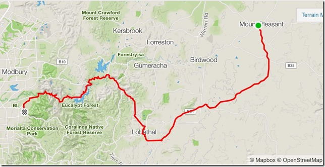 Map from Mt Pleasant to Campbelltown